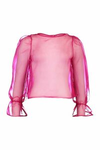 Womens Organza Mesh Blouse - Pink - 14, Pink