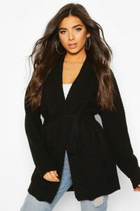 Womens Cable Boyfriend Belted Cardigan - black - M/L, Black