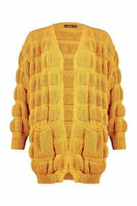 Womens Bubble Knit Edge To Edge Cardigan - yellow - S, Yellow