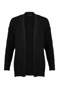 Womens Oversized Boxy Cardigan - black - M, Black