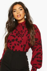 Womens Splodge Print High Neck Blouse - Red - 8, Red