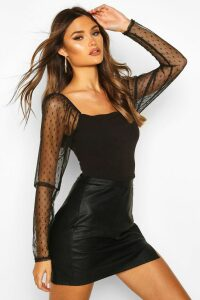 Womens Dobby Mesh Sleeve Square Neck Top - black - 6, Black