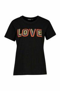 Womens High Build Slogan T-Shirt - black - 6, Black