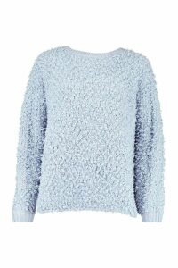 Womens Oversized Teddy Knitted Jumper - blue - M/L, Blue