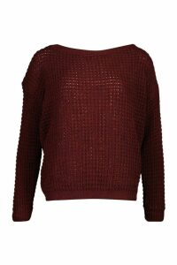 Womens Petite Waffle Knit Off The Shoulder Jumper - red - L, Red