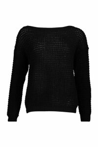 Womens Petite Waffle Knit Off The Shoulder Jumper - black - M, Black