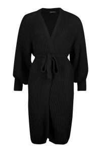 Womens Petite Chunky Knit Belted Cardigan - black - M, Black