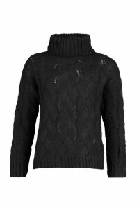 Womens Petite Chunky Cable Knit Roll Neck Jumper - black - M/L, Black