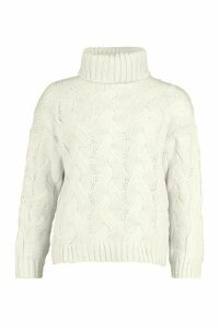 Womens Petite Chunky Cable Knit Roll Neck Jumper - white - S/M, White