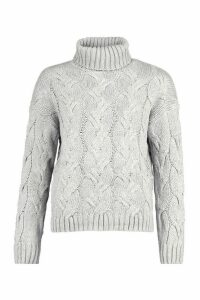 Womens Petite Chunky Cable Knit Roll Neck Jumper - grey - M/L, Grey
