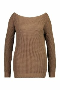 Womens Plus Slashed Neck Oversized Jumper - beige - 20, Beige