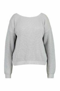 Womens Plus V-Back Oversized Jumper - grey - 16-18, Grey