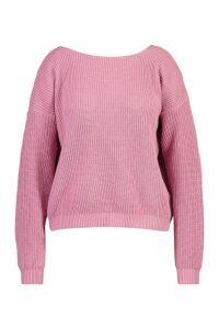 Womens Plus V-Back Oversized Jumper - pastel pink - 24-26, Pastel Pink