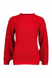 Womens Petite Volume Sleeve Jumper - red - L, Red
