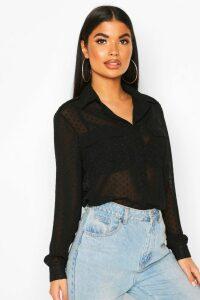 Womens Petite Dobby Mesh Shirt - black - 14, Black