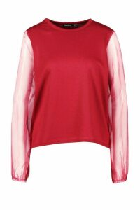 Womens Organza Sleeve Sweatshirt - red - 14, Red