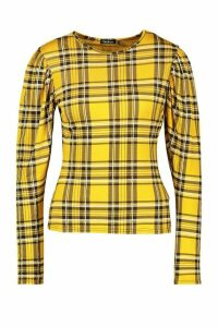 Womens Check Crew Neck Puff Sleeve Top - yellow - 16, Yellow