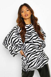 Womens Oversized Slouch Fleece Top - Black & White - S, Black & White