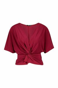 Womens Knot Front Top - red - 8, Red