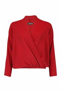 Womens Wrap Over Belted Elasticated Waist Blouse - red - 14, Red
