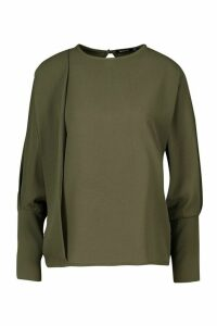 Womens Pleat Detail Blouse - green - 8, Green