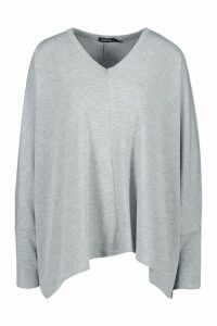 Womens Loose Fitting Boxy Top - Grey - S, Grey