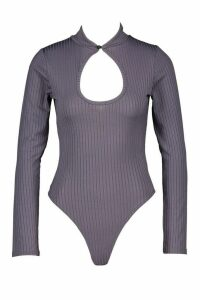 Womens Long Sleeve Mandarin Collar Body - grey - 14, Grey