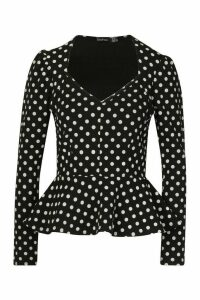 Womens Crepe Wrap Over Polka Dot Blouse - black - 14, Black