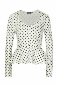 Womens Crepe Wrap Over Polka Dot Blouse - White - 10, White