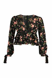 Womens Floral Tie Detail Woven Peplum Top - black - 8, Black