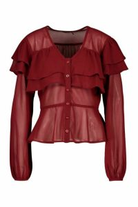 Womens Ruffle Peplum Woven Blouse - red - 10, Red