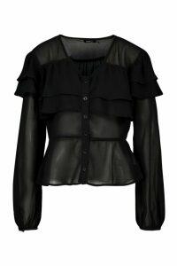 Womens Ruffle Peplum Woven Blouse - black - 6, Black