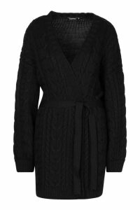Womens Cable Knit Balloon Sleeve Midaxi Cardi - black - M, Black