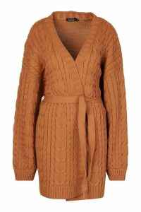 Womens Cable Knit Balloon Sleeve Midaxi Cardi - beige - L, Beige