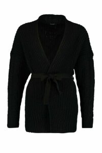 Womens Cable Knit Tie Waist Cardigan - black - L, Black