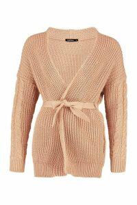 Womens Cable Knit Tie Waist Cardigan - beige - M, Beige