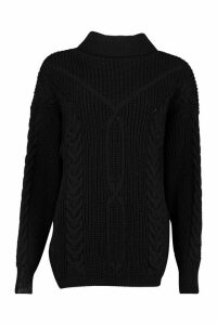 Womens Roll Neck Cable Knit Oversized Jumper - black - L, Black