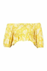 Womens Floral Bardot Shirred Detail Crop Top - yellow - 16, Yellow
