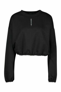 Womens Micro Print Scoop Neck Crop Sweat - black - 6, Black