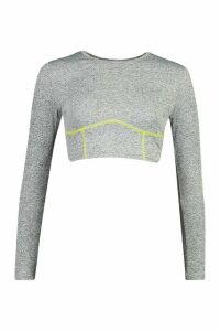 Womens Fit Seamless Contour Stitch Gym Top - grey - 16, Grey
