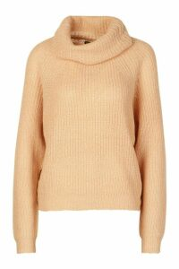 Womens Cowl Roll Neck Oversized Jumper - beige - M, Beige