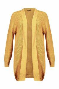 Womens Rib Knit Midi Cardigan - beige - M, Beige