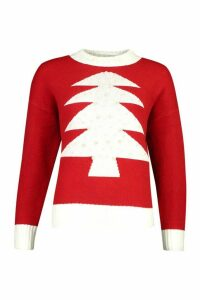 Womens Pearl Embellished Christmas Tree Jumper - red - M, Red