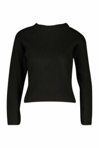 Womens Petite Knitted Rib Roll Neck Jumper - black - M, Black