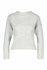 Womens Petite Knitted Rib Roll Neck Jumper - Grey - L, Grey