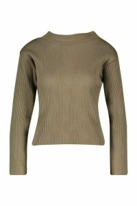 Womens Petite Knitted Rib Roll Neck Jumper - green - L, Green