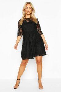 Womens Plus Lace Smock Dress - black - 20, Black