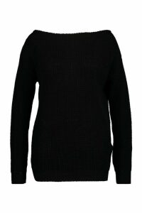 Womens Plus Slashed Neck Oversized Jumper - black - 24, Black