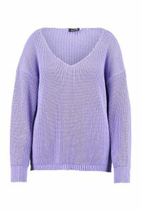Womens Plus Oversized V-Neck Jumper - purple - 16, Purple