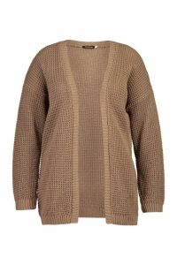 Womens Plus Edge to Edge Waffle Knit Cardigan - beige - 18, Beige